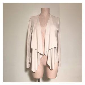 Zara Faux Suede Open Front Drape Jacket